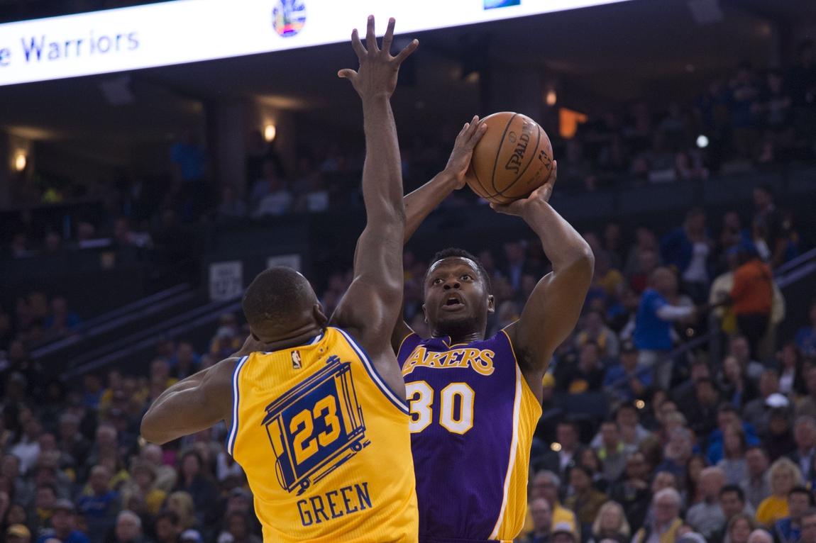 sale retailer c356f e5200 November 24, 2015  Oakland, CA, USA  Los Angeles Lakers forward Julius  Randle (30) shoots the basketball against Golden State Warriors forward  Draymond ...