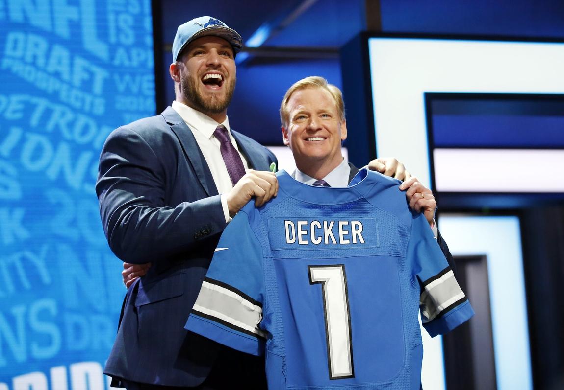 Men's Detroit Lions Taylor Decker Nike Blue 2016 Draft Pick Game ...