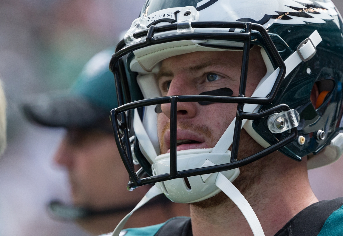 the best attitude c5414 1dad8 Sep 11, 2016  Philadelphia, PA, USA  Philadelphia Eagles quarterback Carson  Wentz (11) during a break in action against the Cleveland Browns in the  second ...