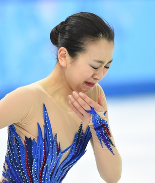 Feb 20, 2014; Sochi, RUSSIA; Mao Asada of Japan performs in the ladies free skate program during the Sochi 2014 Olympic Winter Games at Iceberg Skating Palace. Mandatory Credit: Robert Deutsch-USA TODAY Sports