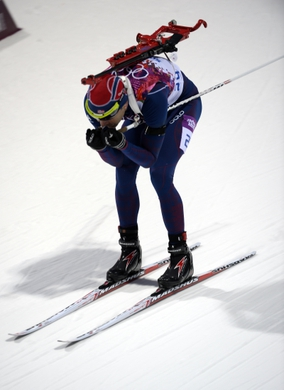 Feb 8, 2014; Krasnaya Polyana, RUSSIA; Ole Einar Bjoerndalen (NOR) during the Sochi 2014 Olympic Winter Games at Laura Cross-Country Ski and Biathlon Center. Mandatory Credit: Jack Gruber-USA TODAY Sports