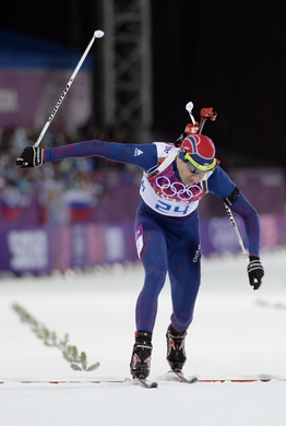 Feb 8, 2014; Krasnaya Polyana, RUSSIA; Ole Einar Bjoerndalen (NOR) crosses the finish line during the Sochi 2014 Olympic Winter Games at Laura Cross-Country Ski and Biathlon Center. Mandatory Credit: Jack Gruber-USA TODAY Sports
