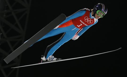 Feb 10, 2014; Krasnaya Polyana, RUSSIA; Sarah Hendrickson (USA) jumps during the Sochi 2014 Olympic Winter Games at RusSki Gorki Ski Jumping Center. Mandatory Credit: Rob Schumacher-USA TODAY Sports