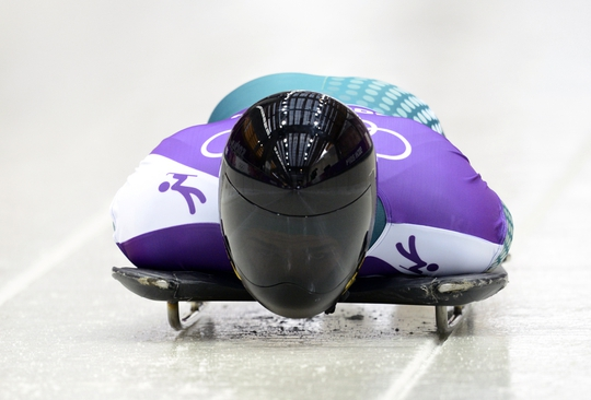 Feb 11, 2014; Krasnaya Polyana, RUSSIA; John Farrow (AUS) practices in a training run for men's skeleton during the Sochi 2014 Olympic Winter Games at Sanki Sliding Center. Mandatory Credit: John David Mercer-USA TODAY Sports