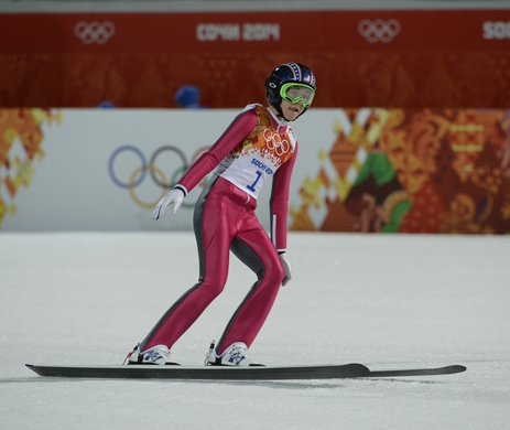 Feb 11, 2014; Krasnaya Polyana, RUSSIA; Sarah Hendrickson (USA) in the final round during Sochi 2014 Olympic Winter Games at RusSki Gorki Ski Jumping Center. Mandatory Credit: Jack Gruber-USA TODAY Sports