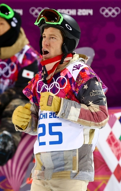 Feb 11, 2014; Krasnaya Polyana, RUSSIA; Shaun White (USA) reacts after the men's snowboarding halfpipe finals of the Sochi 2014 Olympic Winter Games at Rosa Khutor Extreme Park. Mandatory Credit: Guy Rhodes-USA TODAY Sports