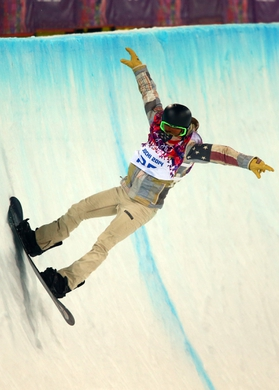 Feb 11, 2014; Krasnaya Polyana, RUSSIA; Shaun White (USA) on his final run in the mens snowboard half pipe final during the Sochi 2014 Olympic Winter Games at Rosa Khutor Extreme Park. Mandatory Credit: Guy Rhodes-USA TODAY Sports