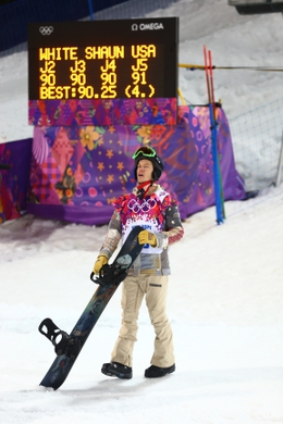 Feb 11, 2014; Krasnaya Polyana, RUSSIA; Shaun White (USA) reacts after his final run in the mens snowboard half pipe final during the Sochi 2014 Olympic Winter Games at Rosa Khutor Extreme Park. Mandatory Credit: Guy Rhodes-USA TODAY Sports