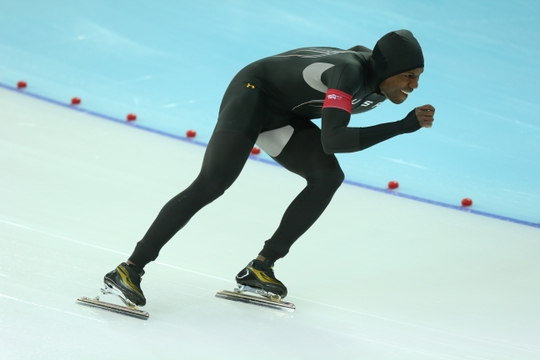 Feb 12, 2014; Sochi, RUSSIA; Shani Davis (USA) during the mens speed skating 1000m at Adler Arena Skating Center during the Sochi 2014 Olympic Winter Games. Mandatory Credit: Winslow Townson-USA TODAY Sports