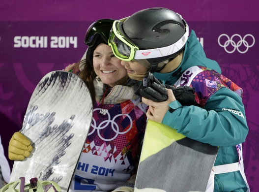 Feb 12, 2014; Krasnaya Polyana, RUSSIA; Kelly Clark (USA, left) hugs Torah Bright (right) after the ladies' half pipe finals during the Sochi 2014 Olympic Winter Games at Rosa Khutor Extreme Park. Mandatory Credit: Andrew P. Scott-USA TODAY Sports