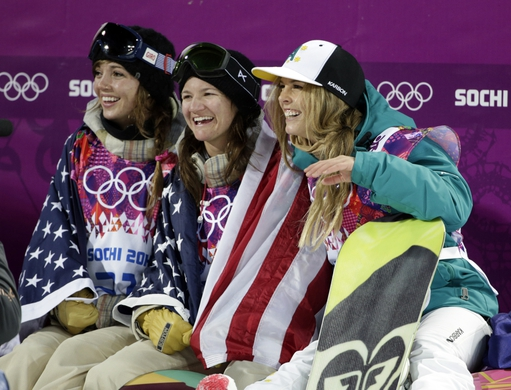 Feb 12, 2014; Krasnaya Polyana, RUSSIA; Kaitlyn Farrington (left) wins gold, Kelly Clark (USA, center) wins third and Torah Bright (AUS) (right) wins silver in the ladies' half pipe finals during the Sochi 2014 Olympic Winter Games at Rosa Khutor Extreme Park. Mandatory Credit: Andrew P. Scott-USA TODAY Sports