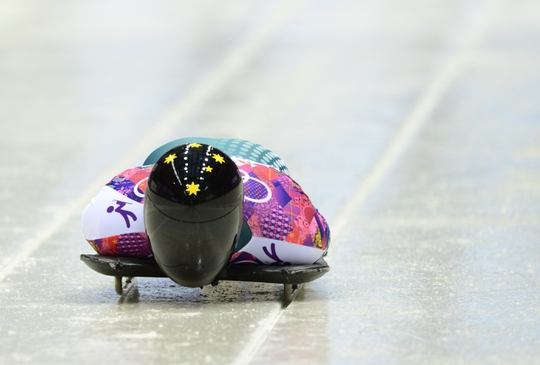 Feb 14, 2014; Krasnaya Polyana, RUSSIA; John Farrow (AUS) competes in the second heat of men's skeleton during the Sochi 2014 Olympic Winter Games at Sanki Sliding Center. Mandatory Credit: John David Mercer-USA TODAY Sports