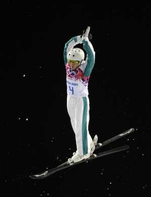 Feb 14, 2014; Krasnaya Polyana, RUSSIA; Lydia Lassila (AUS) performs her final jump in the ladies' freestyle skiing aerials finals during the Sochi 2014 Olympic Winter Games at Rosa Khutor Extreme Park. Lassila won bronze. Mandatory Credit: Jack Gruber-USA TODAY Sports