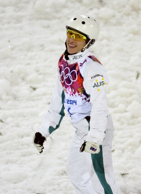 Feb 14, 2014; Krasnaya Polyana, RUSSIA; Lydia Lassila (AUS) reacts after her final jump in the ladies' freestyle skiing aerials finals during the Sochi 2014 Olympic Winter Games at Rosa Khutor Extreme Park. Lassila won bronze. Mandatory Credit: Jack Gruber-USA TODAY Sports