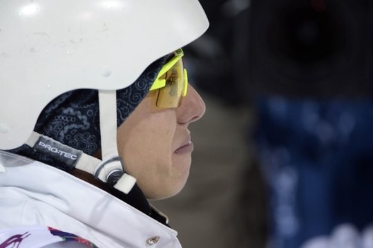 Feb 14, 2014; Krasnaya Polyana, RUSSIA; Lydia Lassila (AUS) reacts after the ladies' freestyle skiing aerials finals during the Sochi 2014 Olympic Winter Games at Rosa Khutor Extreme Park. Lassila won bronze. Mandatory Credit: Jack Gruber-USA TODAY Sports