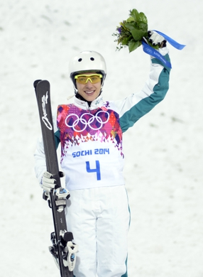 Feb 14, 2014; Krasnaya Polyana, RUSSIA; Lydia Lassila (AUS) reacts after winning bronze in the ladies' freestyle skiing aerials finals during the Sochi 2014 Olympic Winter Games at Rosa Khutor Extreme Park. Mandatory Credit: Jack Gruber-USA TODAY Sports