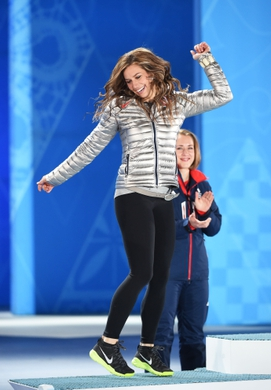 Feb 15, 2014; Sochi, RUSSIA; Noelle Pikus-Pace of the United States of America reacts to her introduction before receiving her silver medal during the medal ceremony for Women's Skeleton during the Sochi 2014 Olympic Winter Games at the Medals Plaza. Mandatory Credit: Robert Deutsch-USA TODAY Sports