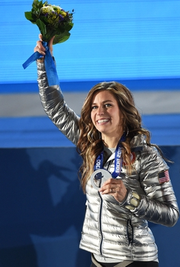 Feb 15, 2014; Sochi, RUSSIA; Noelle Pikus-Pace of the United States of America reacts after receiving her silver medal during the medal ceremony for Women's Skeleton during the Sochi 2014 Olympic Winter Games at the Medals Plaza. Mandatory Credit: Robert Deutsch-USA TODAY Sports