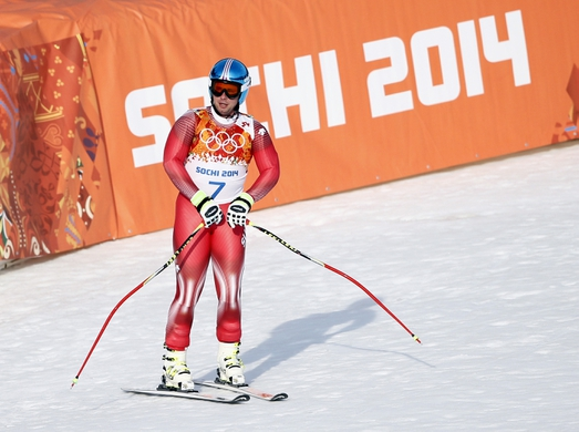 Feb 16, 2014; Krasnaya Polyana, RUSSIA; Beat Feuz (SUI) reacts after his run in men's alpine skiing super-G during the Sochi 2014 Olympic Winter Games at Rosa Khutor Alpine Center. Mandatory Credit: Rob Schumacher-USA TODAY Sports