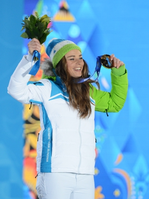 Feb 19, 2014; Sochi, RUSSIA; Tina Maze of Slovenia reacts after receiving her gold medal during the medal ceremony for Alpine Skiing Ladies' Giant Slalom during the Sochi 2014 Olympic Winter Games at the Medals Plaza. Mandatory Credit: Jayne Kamin-Oncea-USA TODAY Sports