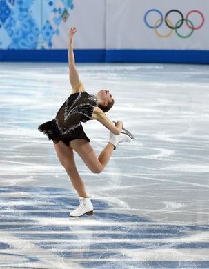 Feb 19, 2014; Sochi, RUSSIA; Ashley Wagner of the USA performs in the ladies short program during the Sochi 2014 Olympic Winter Games at Iceberg Skating Palace. Mandatory Credit: Kyle Terada-USA TODAY Sports
