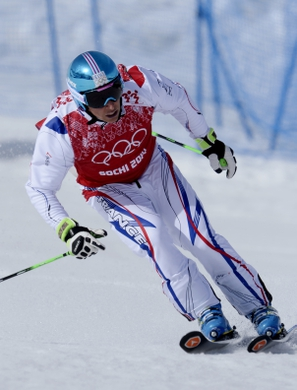 Feb 20, 2014; Krasnaya Polyana, RUSSIA; Jean Frederic Chapuis (FRA) in semifinals for men's ski cross during the Sochi 2014 Olympic Winter Games at Rosa Khutor Extreme Park. Mandatory Credit: Jack Gruber-USA TODAY Sports