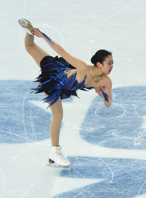 Feb 20, 2014; Sochi, RUSSIA; Mao Asada of Japan performs in the ladies free skate program during the Sochi 2014 Olympic Winter Games at Iceberg Skating Palace.   Mandatory Credit: Robert Hanashiro-USA TODAY Sports