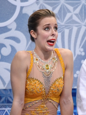 Feb 20, 2014; Sochi, RUSSIA; Ashley Wagner of the USA  waits for her scores in the ladies free skate program during the Sochi 2014 Olympic Winter Games at Iceberg Skating Palace.  Mandatory Credit: Robert Deutsch-USA TODAY Sports