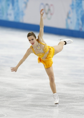 Feb 20, 2014; Sochi, RUSSIA; Ashley Wagner (USA) performs in the ladies free skate program during the Sochi 2014 Olympic Winter Games at Iceberg Skating Palace. Mandatory Credit: Jeff Swinger-USA TODAY Sports