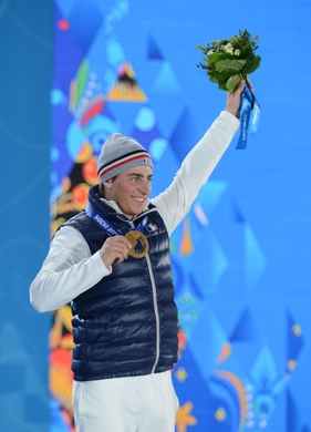 Feb 20, 2014; Sochi, RUSSIA; Jean Frederic Chapuis of France reacts after receiving his bronze medal during the medal ceremony for Freestyle Skiing Men's Ski Cross during the Sochi 2014 Olympic Winter Games at the Medals Plaza. Mandatory Credit: Jayne Kamin-Oncea-USA TODAY Sports