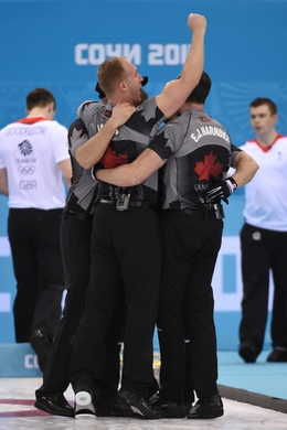 Feb 21, 2014; Sochi, RUSSIA; Brad Jacobs (CAN) celebrates with his team after winning the gold medal in the men's curling gold medal match during the Sochi 2014 Olympic Winter Games at Ice Cube Curling Center. Mandatory Credit: Kyle Terada-USA TODAY Sports