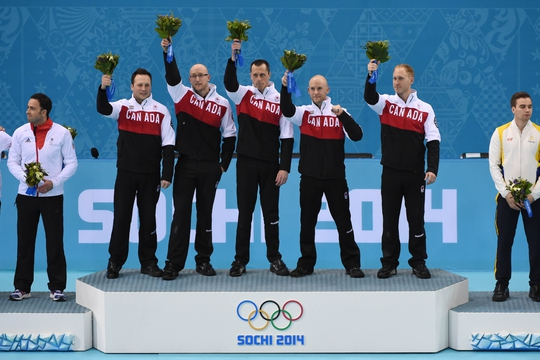 Feb 21, 2014; Sochi, RUSSIA; (L-R) Caleb Flaxey (CAN), Ryan Harnden (CAN), E.J. Harnden (CAN), Ryan Fry (CAN), and Brad Jacobs (CAN) celebrate after winning the gold medal in the men's curling gold medal match during the Sochi 2014 Olympic Winter Games at Ice Cube Curling Center. Mandatory Credit: Kyle Terada-USA TODAY Sports