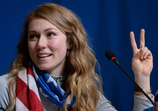 Feb 22, 2014; Sochi, RUSSIA; Gold medalist Mikaela Shiffrin (USA) speaks at a press conference for the women's slalom at the Sochi 2014 Olympic Winter Games. Mandatory Credit: Jayne Kamin-Oncea-USA TODAY Sports