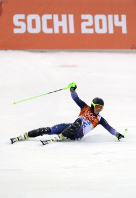 Feb 22, 2014; Krasnaya Polyana, RUSSIA; Ted Ligety (USA) reacts after his first run of men's alpine skiing slalom during the Sochi 2014 Olympic Winter Games at Rosa Khutor Alpine Center. Mandatory Credit: Jack Gruber-USA TODAY Sports