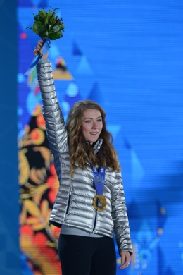 Feb 22, 2014; Sochi, RUSSIA; Mikaela Shiffrin (USA) reacts after receiving the gold medal in alpine skiing ladies  slalom during the Sochi 2014 Olympic Winter Games at the Medals Plaza. Mandatory Credit: Jayne Kamin-Oncea-USA TODAY Sports