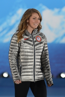 Feb 22, 2014; Sochi, RUSSIA; Mikaela Shiffrin (USA) walks on to the stage to receive the gold medal in alpine skiing ladies  slalom during the Sochi 2014 Olympic Winter Games at the Medals Plaza. Mandatory Credit: Jayne Kamin-Oncea-USA TODAY Sports