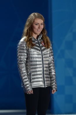 Feb 22, 2014; Sochi, RUSSIA; Mikaela Shiffrin (USA) prepares to receive the gold medal in alpine skiing ladies  slalom during the Sochi 2014 Olympic Winter Games at the Medals Plaza. Mandatory Credit: Jayne Kamin-Oncea-USA TODAY Sports