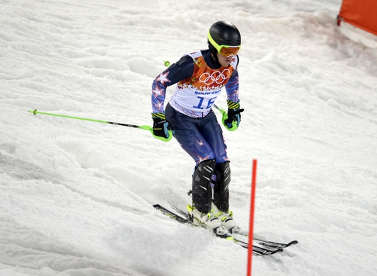 Feb 22, 2014; Krasnaya Polyana, RUSSIA; Ted Ligety (USA) comes down the course after he does not finish his second run of men's alpine skiing slalom during the Sochi 2014 Olympic Winter Games at Rosa Khutor Alpine Center. Mandatory Credit: Jack Gruber-USA TODAY Sports