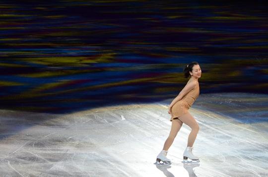 Feb 22, 2014; Sochi, RUSSIA; Mao Asada of Japan performs in the figure skating gala exhibition during the Sochi 2014 Olympic Winter Games at Iceberg Skating Palace. Mandatory Credit: James Lang-USA TODAY Sports
