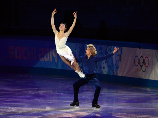 Feb 22, 2014; Sochi, RUSSIA; Meryl Davis and Charlie White of the USA perform in the figure skating gala exhibition during the Sochi 2014 Olympic Winter Games at Iceberg Skating Palace. Mandatory Credit: James Lang-USA TODAY Sports
