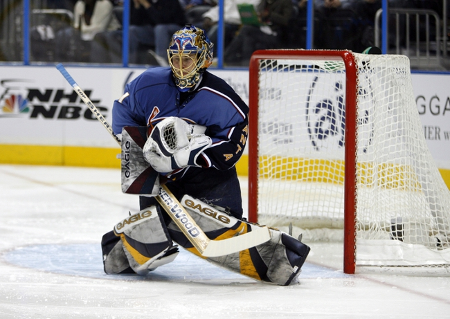 Apr 14, 2007; Atlanta, GA, USA; Atlanta Thrashers goalie (1) Johan Hedberg makes a chest save against the New York Rangers in the second period at Philips Arena in the Eastern Conference Quarterfinal playoff series. The Rangers defeated the Thrashers 2 to 1 to take a two games to none lead in the best of seven series. Mandatory Credit: Dale Zanine USA TODAY Sports Copyright (c) 2007 Dale Zanine
