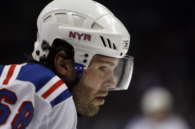 Apr 14, 2007; Atlanta, GA, USA; New York Rangers forward (68) Jaromir Jagr waits for a faceoff against the Atlanta Thrashers in the second period at Philips Arena in the Eastern Conference Quarterfinal playoff series. The Rangers defeated the Thrashers 2 to 1 to take a two games to none lead in the best of seven series. Mandatory Credit: Dale Zanine USA TODAY Sports Copyright (c) 2007 Dale Zanine