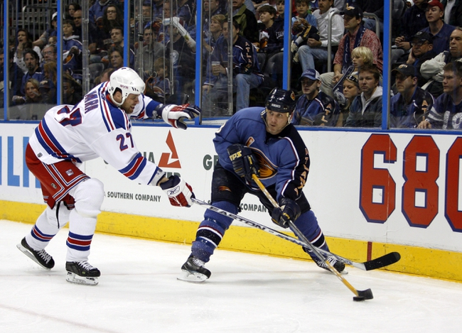 Apr 14, 2007; Atlanta, GA, USA; New York Rangers defenseman (27) Paul Mara fails to break up a pass by Atlanta Thrashers forward (8) Keith Tkachuk that sets up the Thrashers lone goal by forward (17) Ilya Kovalchuk (not shown) in the third period at Philips Arena in the Eastern Conference Quarterfinal playoff series. The Rangers defeated the Thrashers 2 to 1 to take a two games to none lead in the best of seven series. Mandatory Credit: Dale Zanine USA TODAY Sports Copyright (c) 2007 Dale Zanine