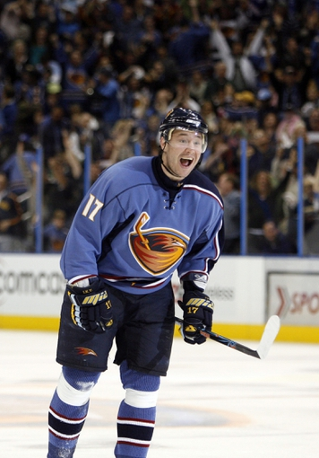 Apr 14, 2007; Atlanta, GA, USA; Atlanta Thrashers forward (17) Ilya Kovalchuk reacts to scoring against the New York Rangers in the third period at Philips Arena in the Eastern Conference Quarterfinal playoff series. The Rangers defeated the Thrashers 2 to 1 to take a two games to none lead in the best of seven series. Mandatory Credit: Dale Zanine USA TODAY Sports Copyright (c) 2007 Dale Zanine