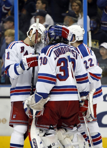 Apr 14, 2007; Atlanta, GA, USA; New York Rangers defenseman (51) Fedor Tyutin congratulates goalie (30) Henrik Lundqvist after the Rangers defeated the Atlanta Thrashers  at Philips Arena in the Eastern Conference Quarterfinal playoff series. The Rangers defeated the Thrashers 2 to 1 to take a two games to none lead in the best of seven series. Mandatory Credit: Dale Zanine USA TODAY Sports Copyright (c) 2007 Dale Zanine