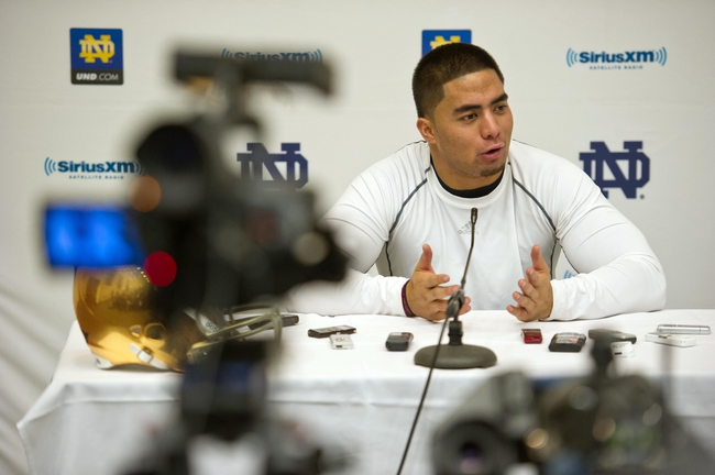 Mar 26, 2013; South Bend, IN, USA; Notre Dame Fighting Irish former players Manti Te'o answers questions at a news co