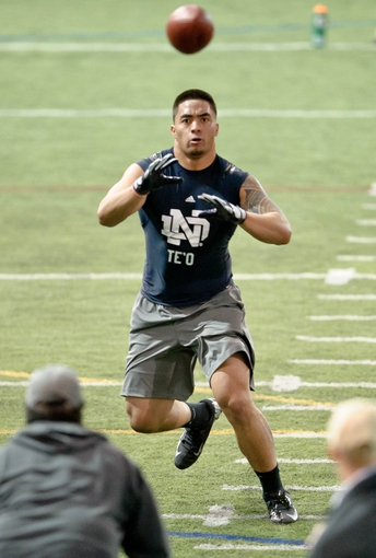 Mar 26, 2013; South Bend, IN, USA; Notre Dame Fighting Irish former player Manti Te'o participates in drills during Notre Dame pro day at the Loftus Center. Mandatory Credit: Matt Cashore-USA TODAY Sports