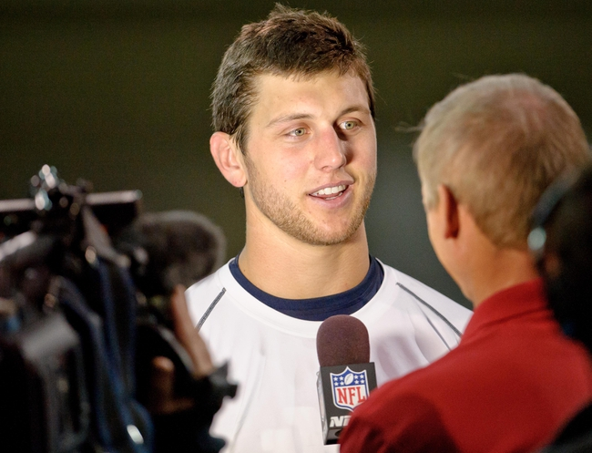 Mar 26, 2013; South Bend, IN, USA; Notre Dame Fighting Irish former player Tyler Eifert is interviewed during Notre Dame pro day at the Loftus Center. Mandatory Credit: Matt Cashore-USA TODAY Sports