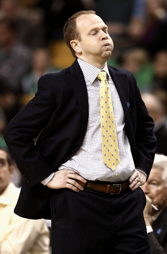 Apr 3, 2013; Boston, MA, USA; Detroit Pistons head coach Lawrence Frank reacts to a call against his team during the second quarter of an NBA game at TD Garden against the Boston Celtics. Mandatory Credit: Winslow Townson-USA TODAY Sports