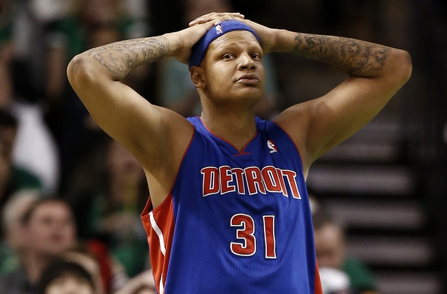 Apr 3, 2013; Boston, MA, USA; Detroit Pistons power forward Charlie Villanueva reacts to missing a shot during the fourth quarter of their 98-93 loss to the Boston Celtics in an NBA game at TD Garden. Mandatory Credit: Winslow Townson-USA TODAY Sports